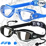 COOLOO Swimming Goggles, Pack of 2, Swim Goggles for Adult Men Women Youth Kids Children, with Anti-Fog, Waterproof, UV 400 Protection Lenses