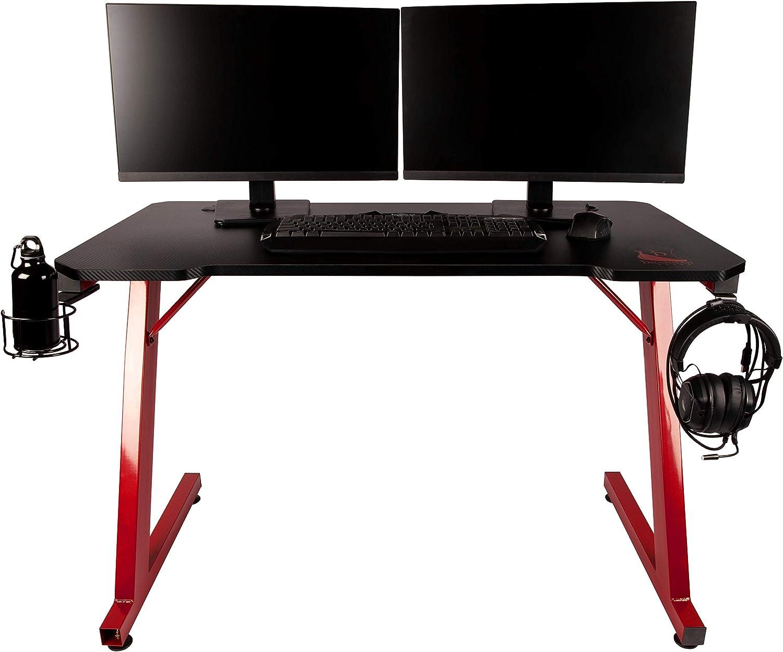 Bureau Gamer en MDF Bureau Gaming Konix Drakkar FRIGG Table Gamer pour PC Gamer Informatique et Porte Gobelet et Support Casque
