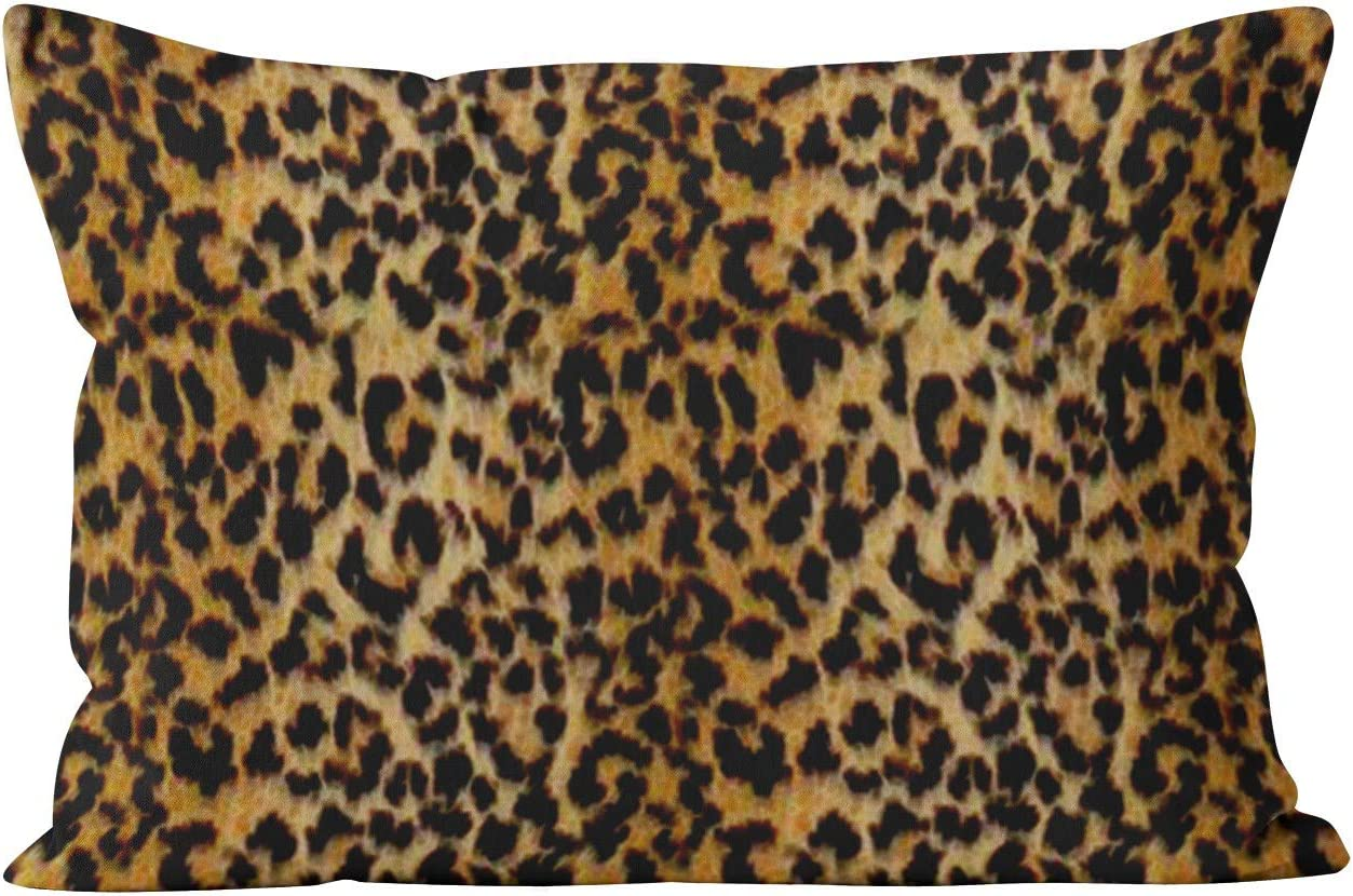 Suklly Unique King Leopard Skin Animal Print Hidden Zipper Home Decorative Rectangle Throw Pillow Cover Cushion Case 20x36 Inch One Side Design Printed Pillowcase