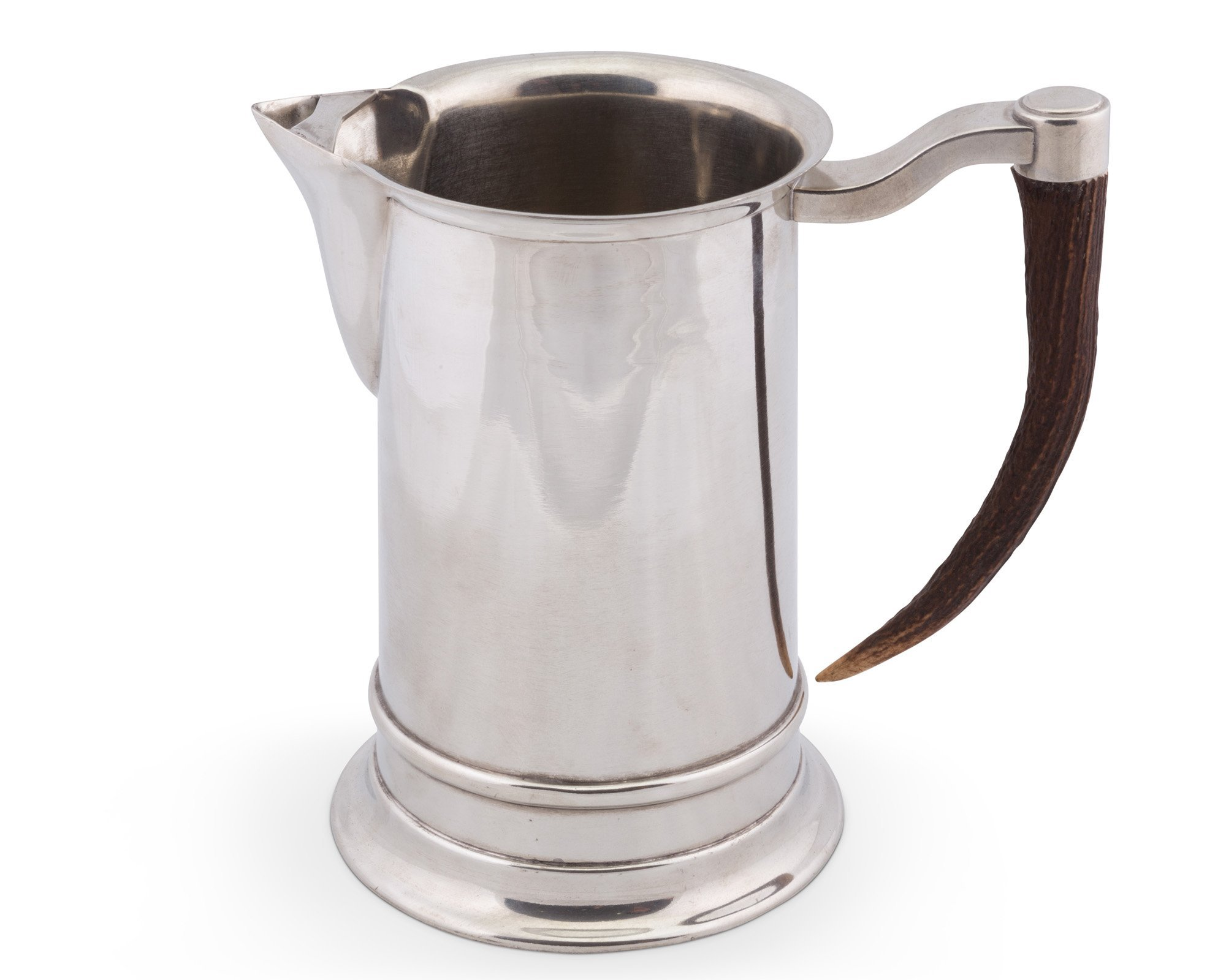 Vagabond House English Straight Pewter Pitcher with Real Antler Handle 11''Tall
