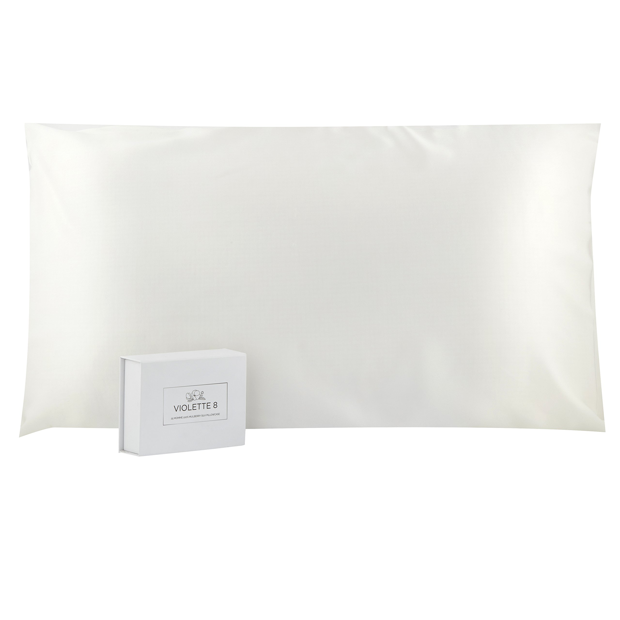 100% Pure, 25 Momme Mulberry Silk Pillowcase, Queen Size, Ivory White:: Luxurious Double Sided, Envelope Style With Charmeuse Finish:: Natural Benefits for Skin, Hair, and Sleep for Women and Men