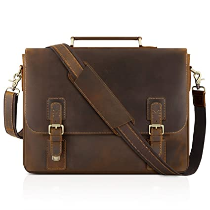 9d36e7fb00 Amazon.com: Kattee Men's Leather Satchel Briefcase, 15.6