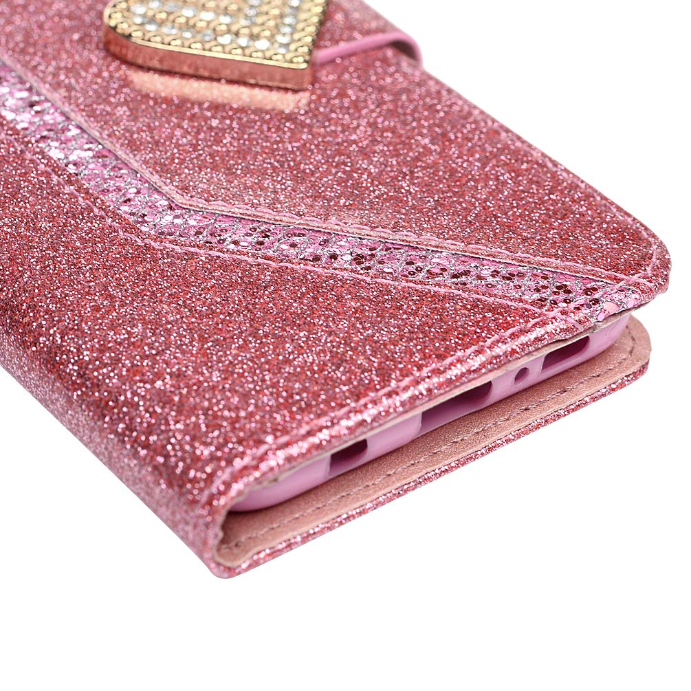 Samsung Galaxy S10e Case Sparkly Glitter Shiny PU Leather Shockproof Wallet Skin Magnetic Closure Folio Credit Card Slot Cash Holder Protective Phone Case for Samsung Galaxy S10e
