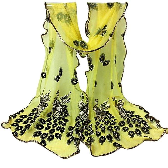 Señoras Bufandas Mujeres Pavo Real Floral Encaje Mantón Bordado Largo Suave Fiesta Estilo Abrigo Mantón Abrigo Mantón Niña (Color : E, Size : One Size): ...