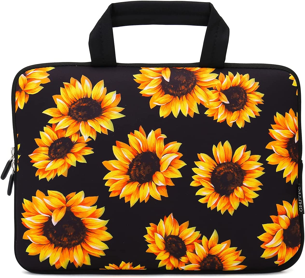 15 15.4 15.6 Inch Laptop Sleeve Carrying Bag Protective Case Neoprene Sleeve Tote Tablet Cover Notebook Briefcase Bag with Handle for Women Men (Sunflower,15