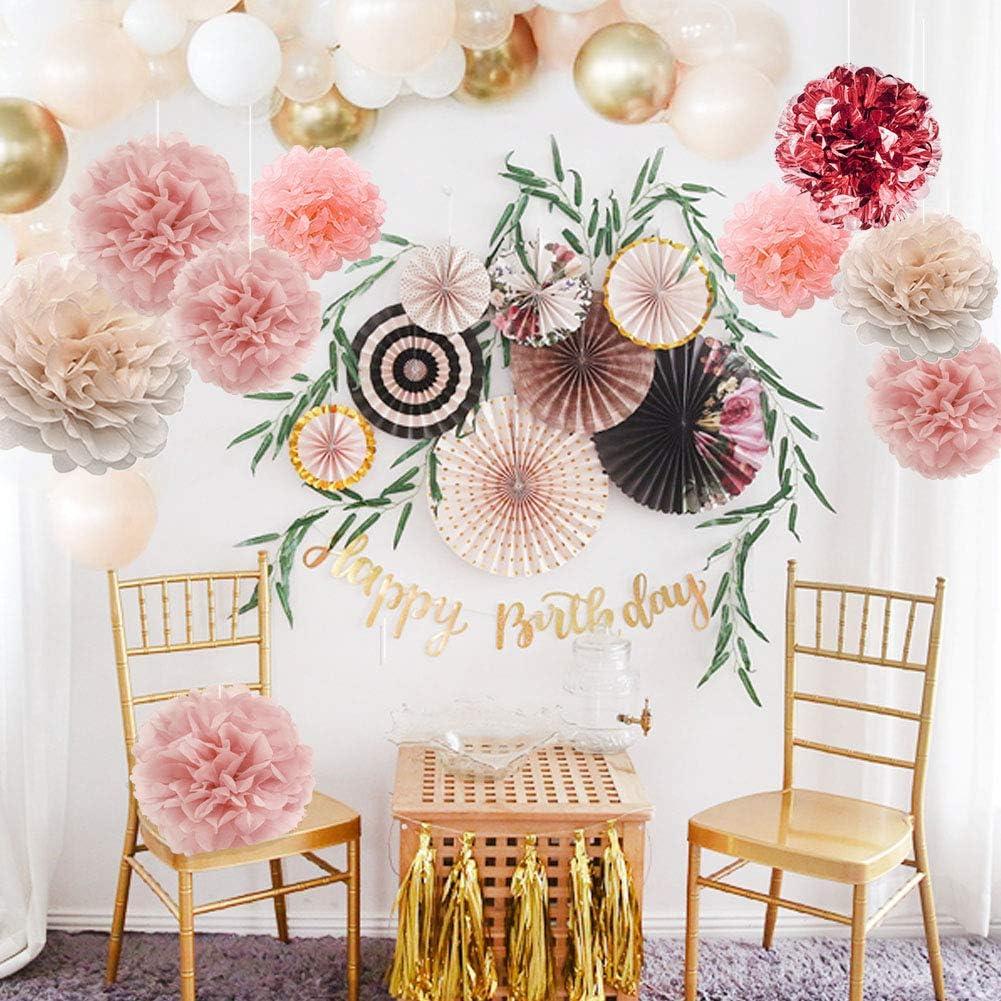 Metallic-Pompons aus Seidenpapier f/ür Babyparty 20,3 cm Hochzeit 35,6 cm YZNLife 20 St/ück Ros/égold-Party-Dekorationen 15,2 cm Junggesellenabschied 25,4 cm Geburtstag Brautparty Party