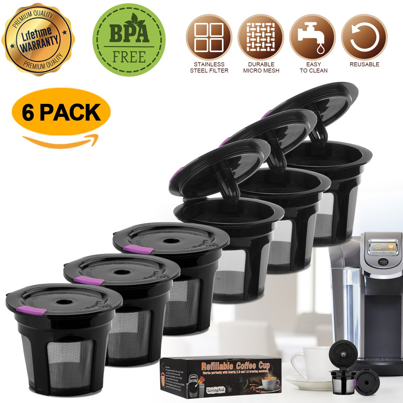 Reusable K CUP, LivingAid Reusable K CUPS 2.0 Coffee Filter Coffee Stainless Mesh Solo Filter Replacement for Keurig Brewers 1.0 or 2.0 Machine BPA Free (Black) (6 Packs)