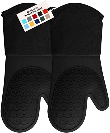 Soft Flexible Oven Gloves Set of 2 ALOANES Premium Silicone Slip Resistant Oven Mitt Set Black Pair Heat Resistant Kitchen Cooking Mitts Protect Hands from Hot Surfaces Cookie Sheets