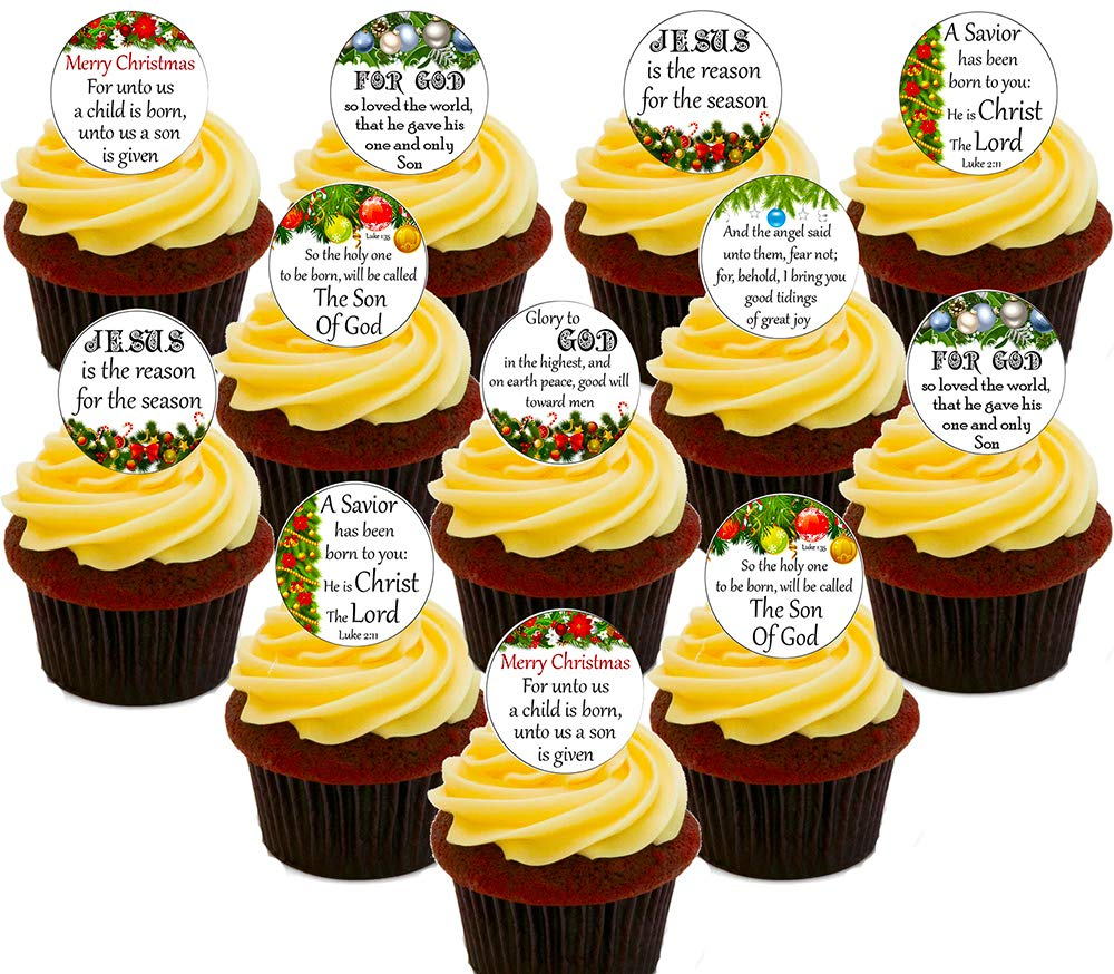 Christmas Traditional Nativity Precut Rice Wafer Paper Cupcake Cake Bun Toppers