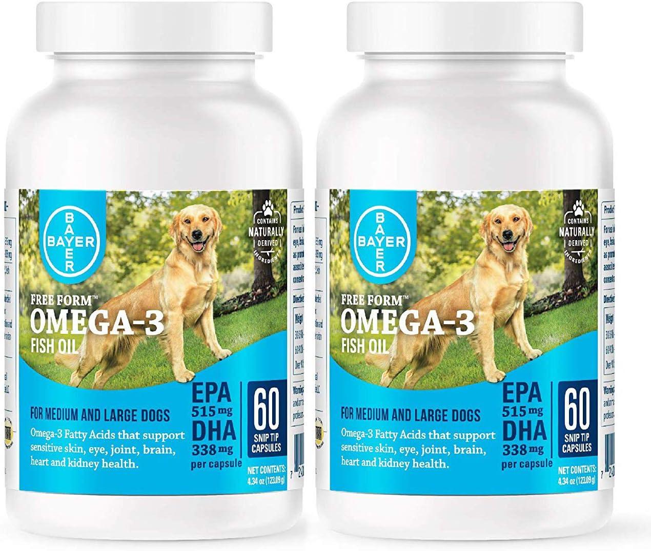 DVM Pharmaceuticals Free Form Snip Tips Omega-3 s for Med lg Dogs 2 Pk 60cap