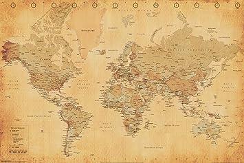 Amazon.com: Pyramid America Antique World Map Vintage Style ...