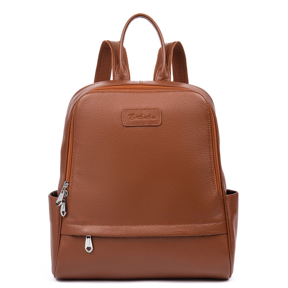 BOSTANTEN Genuine Leather Backpack Purse Fashion School Bags for Women Coffee Large