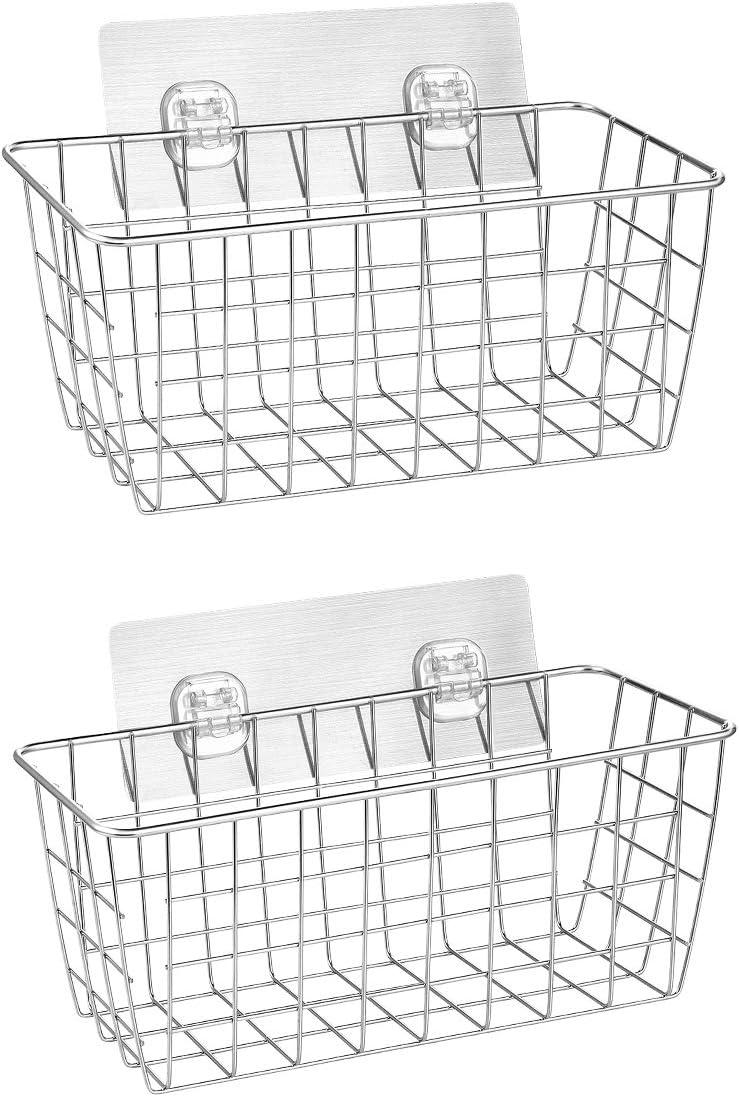HOMEIDEAS 2 Pack Adhesive Basket Shelf Wall Mounted Shower Caddy SUS304 Stainless Steel Shower Basket for Bathroom, Washroom, Toilet, Kitchen-Rustproof, Waterproof, NO Drilling