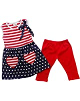 So Sydney Girls Toddler Short Sleeve 4th Of July USA Tunic Top Capri Pant Outfit