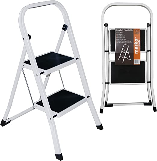 Escalera metálica, 2 peldaños, plegable: Amazon.es: Jardín
