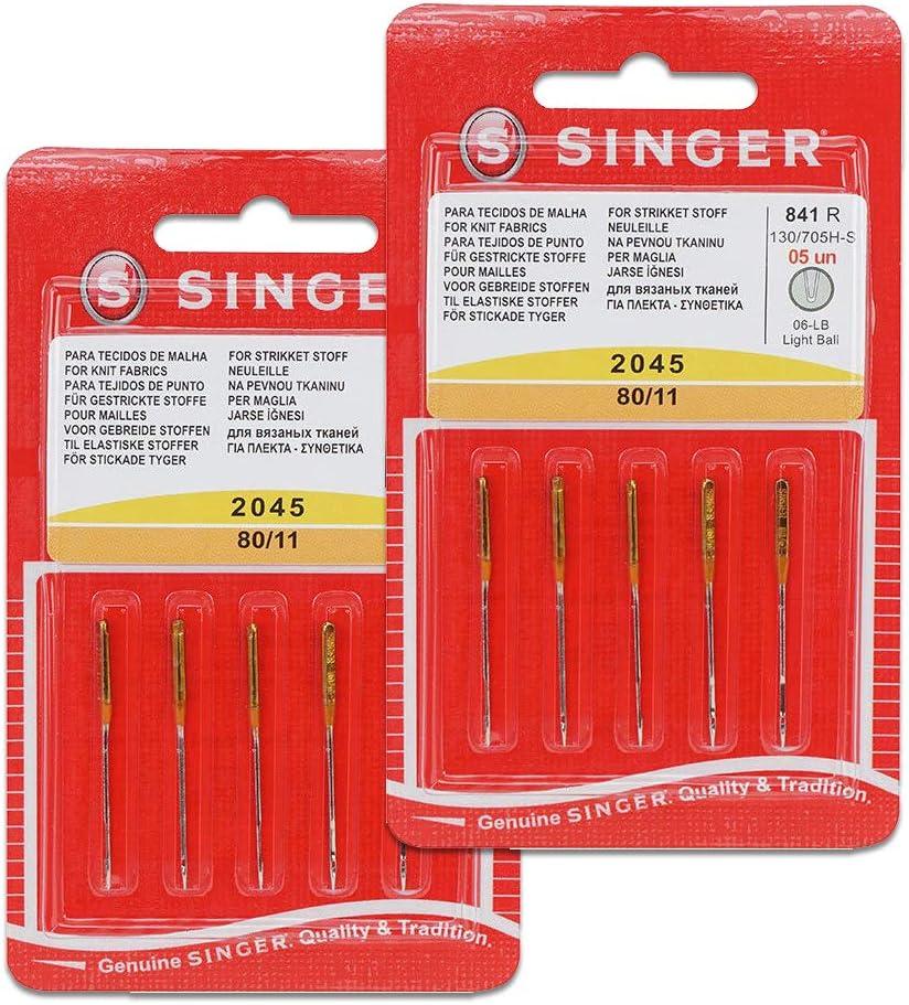 Pack de 10 Agujas para Máquinas de Coser Singer 2045 Grosor 80/12 para Tejidos Elásticos y de Punto (Stretch) 130/705 H-S (Talón plano de un lado) Universales