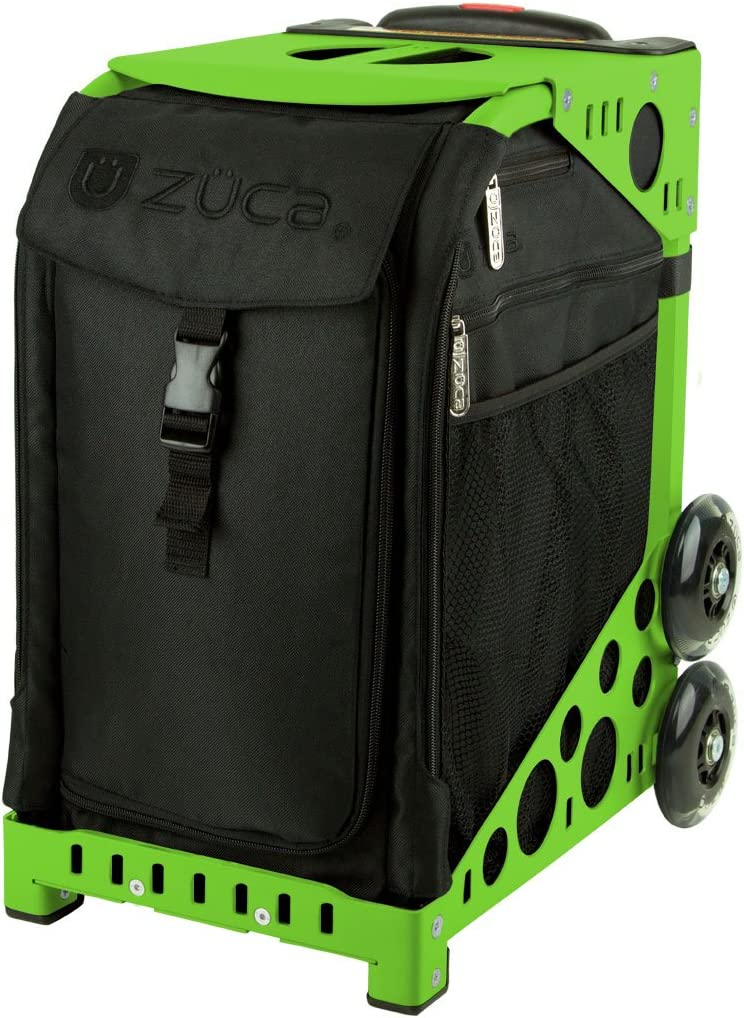 Zuca Stealth Sport Insert Bag (Black, Black embroidery) with Black Non-Flashing-Wheels Sport Frame : Sports & Outdoors