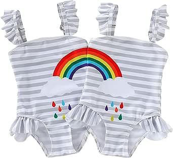DEFAHN Toddler Baby Girls Swimsuit One-Piece Swimwear Rainbow Stripe Ruffle Bathing Suit Bikini for Twins, 2 Pack