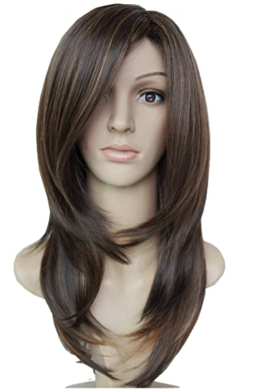Wigbuy Long Layered Shoulder Length Wig Highlights Synthetic Hair Fiber Highlight Multicolor Wigs For Women (4 Ah27/30) by Wigbuy