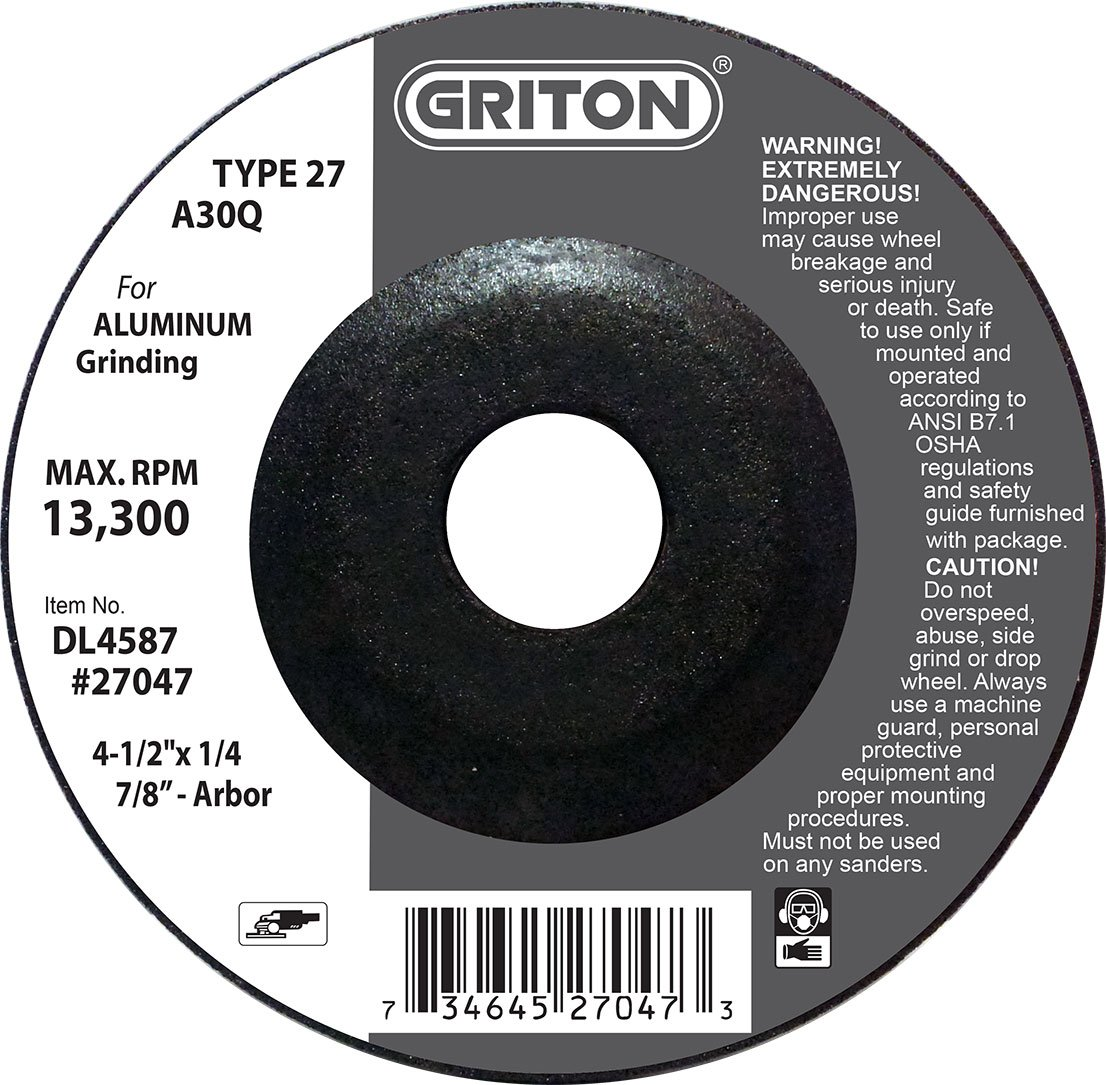 Griton DL4587 Type 27 Grinding Wheels Used on Aluminum, Aluminum Oxide, 13300 RPM, 4.5'' Diameter (Pack of 25)