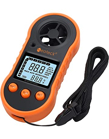 Neoteck Anemómetro Digital LCD Medidor de Velocidad del Viento Flujo de Aire Termómetro con Luz de