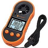 Neoteck Anemómetro Digital LCD Medidor de Velocidad del Viento Flujo de Aire Termómetro con Luz de Fondo para Windsurf Cometa Volar Navegar Pescar
