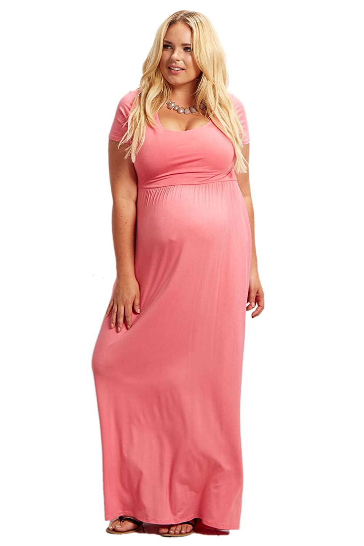 PinkBlush Maternity Basic Short Sleeve Plus Size Maxi Dress