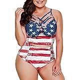 Dearlove Women's Plus Size Bathing Suit Strappy High Waist Bikini Swimsuit M-XXXL