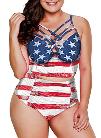 1827f60280f Dearlove Womens Plus Size Swimwear Strappy Push Up Underwire Bikini Top  High Waisted Swimsuit Printed 2