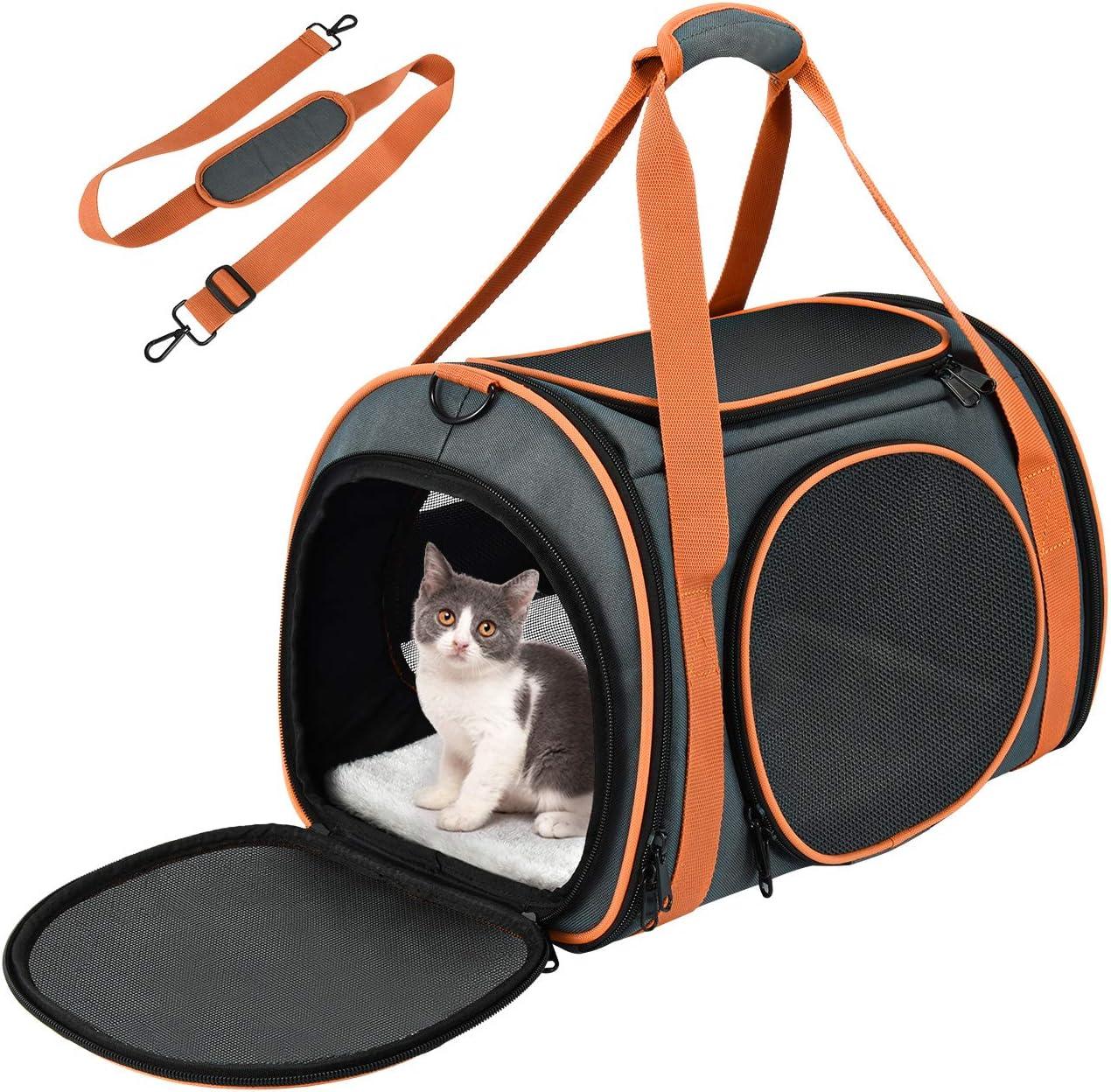 OKMEE Transportin Gato Perro, Bolsa de Transporte para Mascotas. Totalmente Transpirable, Esructura Sólida, Espaciosa y Cómoda. Portador de Viaje con Colchón Suave para Transporte en Tren/Coche/Avión: Amazon.es: Productos para mascotas