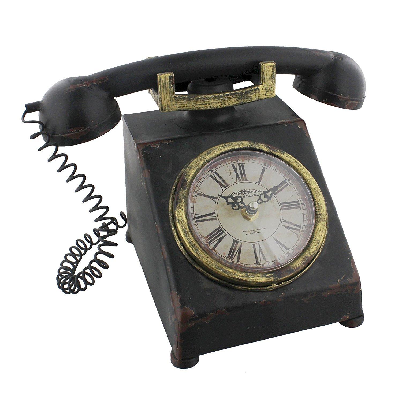 Hometime metallo Mantel Clock–telefono vecchio stile classico vintage shabby chic. wbl