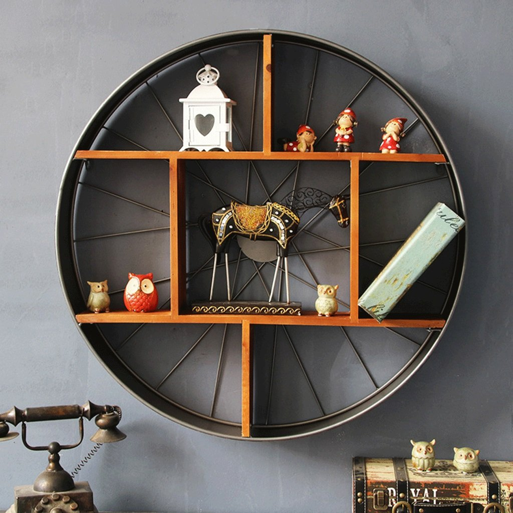 Retro Industrial Wind Iron Shelf Round Grid Solid Wood Wall Decoration Rack Storage Rack Multi - Function Display Stand ( Size : 80cm12.5cm )