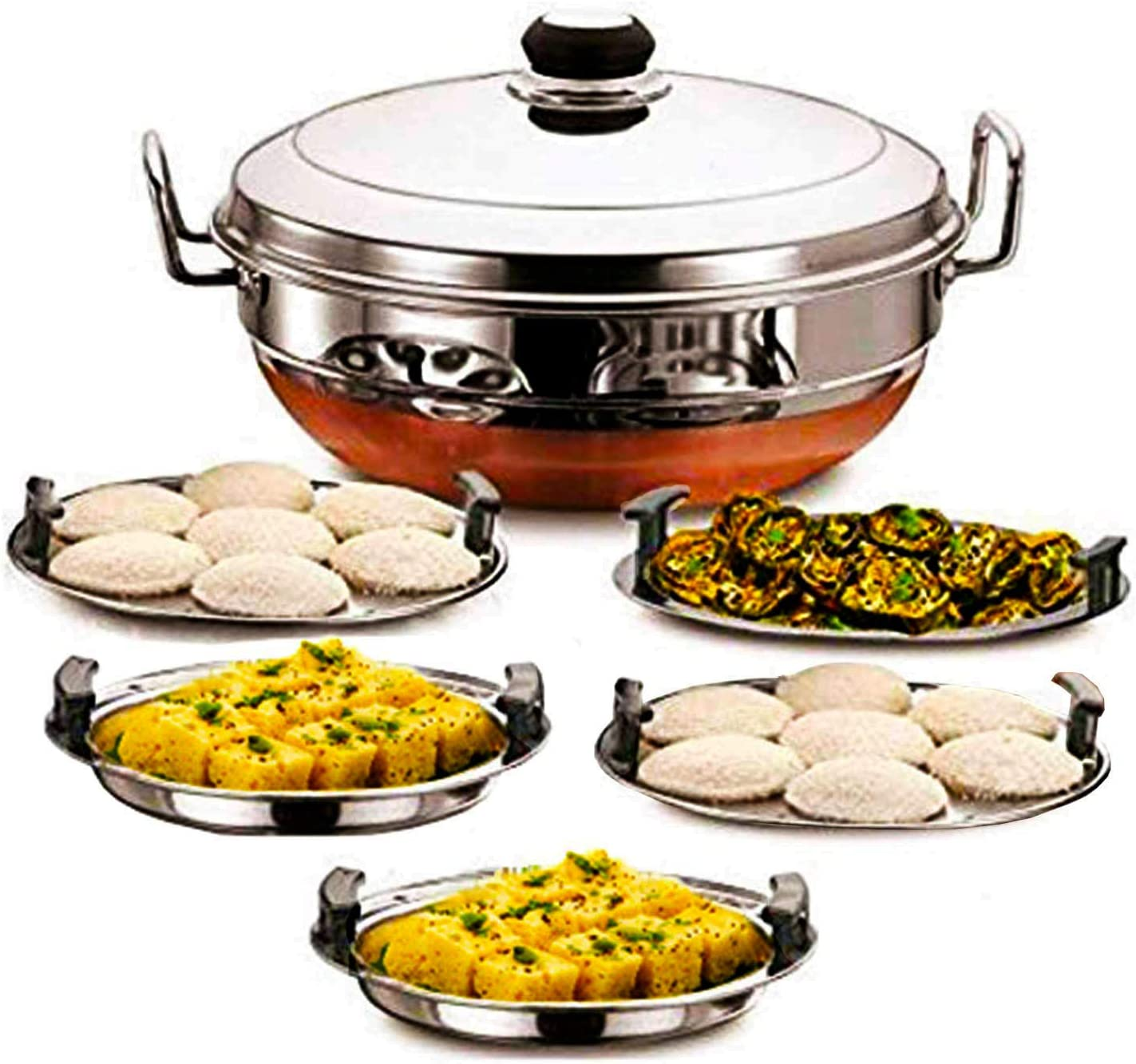 Ecom Stainless Steel Idli Cooker Multi Kadai Steamer with Copper Bottom All-in-One Big Size 5 Plate 2 Idli | 2 Dhokla | 1 Patra | Momo's