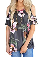 Nlife Women Short Sleeve Cold Shoulder Floral Printed Blouse Casual Tops T Shirt