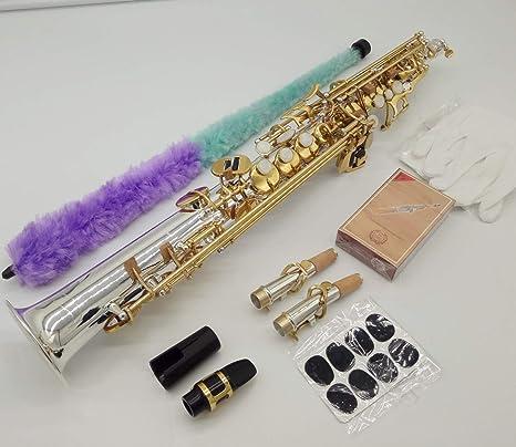 Saxofón soprano de la marca Music Fancier Club S-9930 plata sonic oro clave Sax