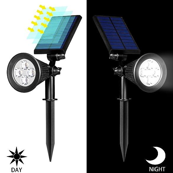 amazoncom solar lights 2in1 waterproof 4 led solar spotlight adjustable wall light landscape light security lighting dark sensing auto onoff for yard