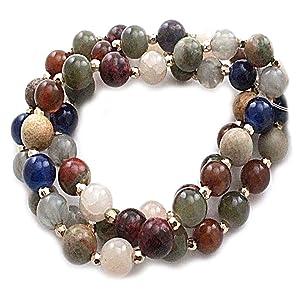 Multi Precious Stone Bead Stretchable Bracelet FB2098 (GDDMT)