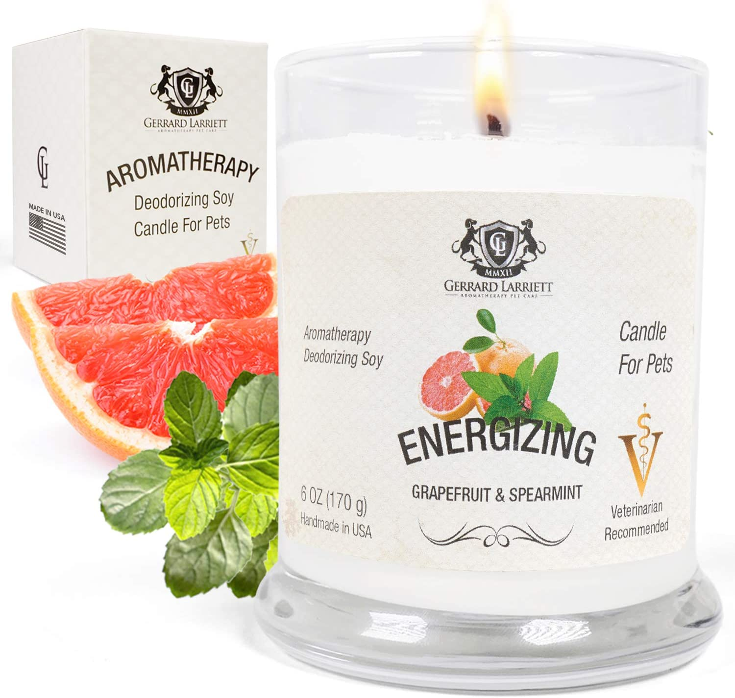 Grapefruit & Spearmint Aromatherapy Deodorizing Soy Candle for Pets, Candles Scented, Pet Odor Eliminator & Animal Lover Gift