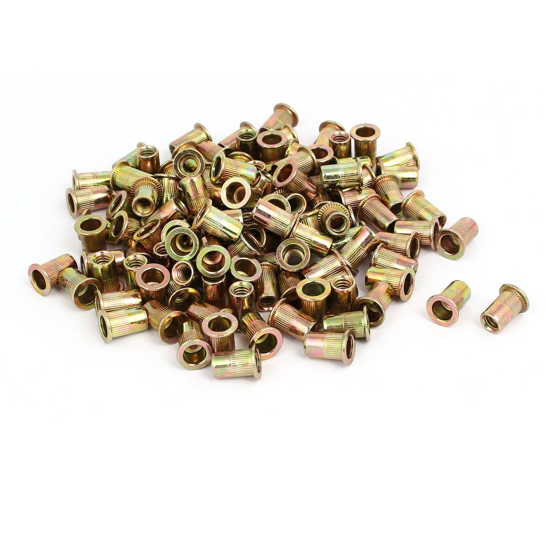 uxcell 1/4'' Female Thread Straight Knurled Rivet Nuts Insert Nutserts Bronze Tone 120pcs by uxcell