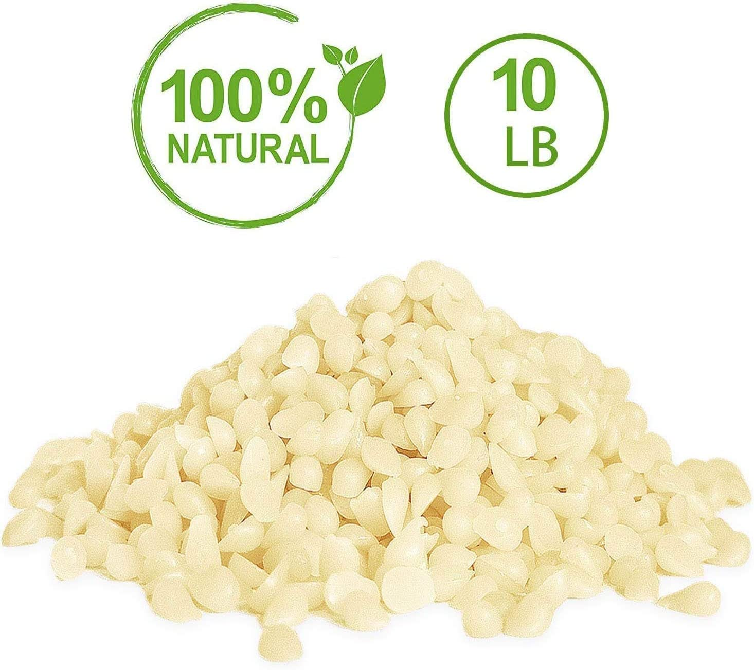 YIHAN White Beeswax Pellets - Natural, Triple Filtered - 10 Pound