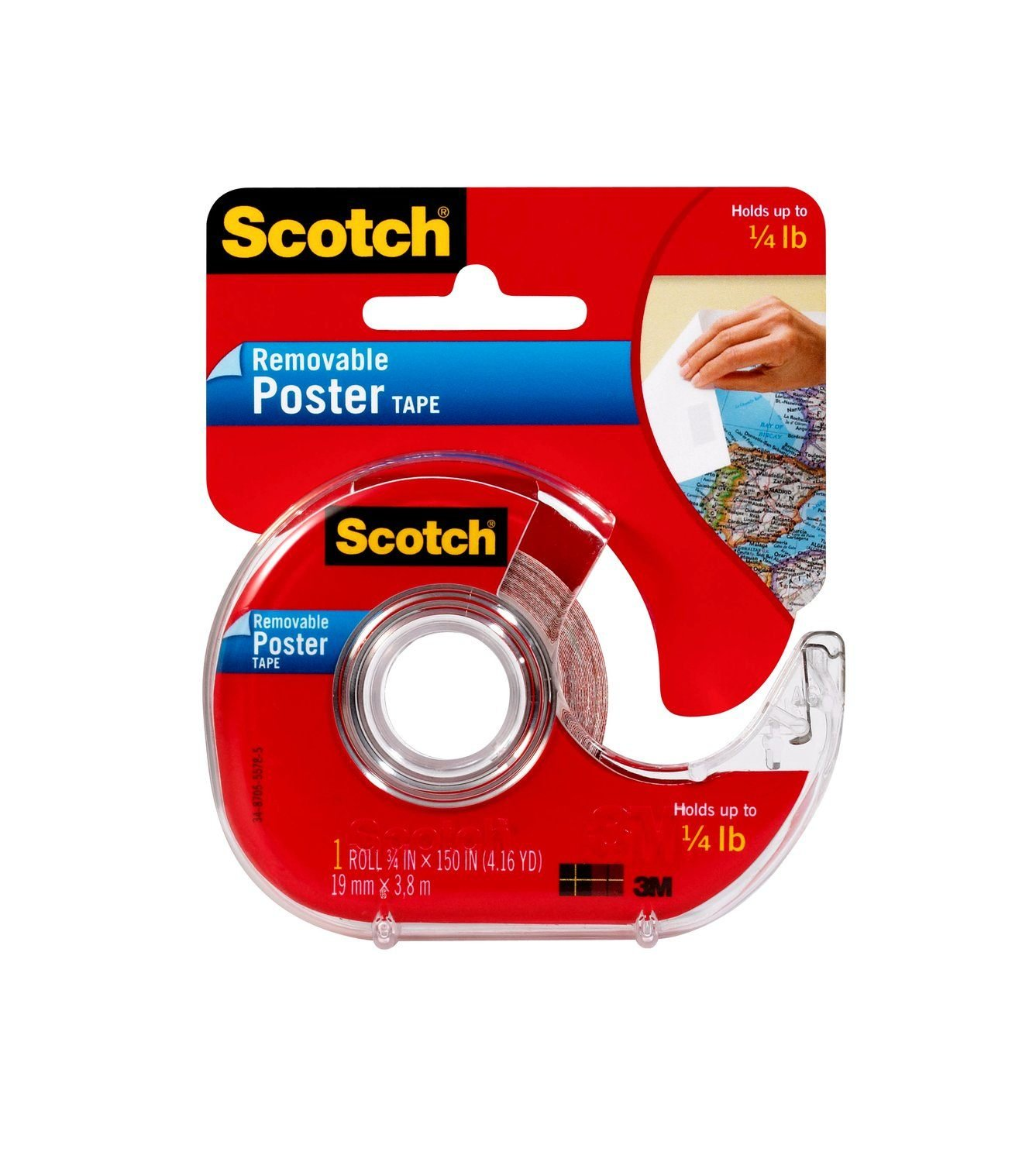 Scotch Removable Poster Tape, 3/4-inch x 150-inches, Clear, 1 Roll/Pack (109) 3M Office Products