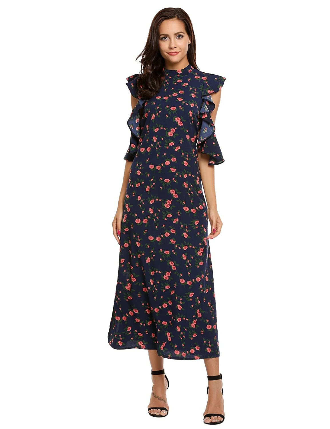 ACEVOG Women's Vintage Summer Casual Cold Shoulder Floral Print Long Cocktail Party Dress