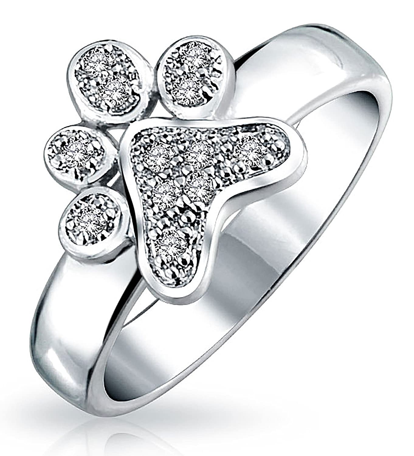 9a2cc7e2bb4 Amazon.com  Bling Jewelry Pave Animal Lover Colorless Cubic Zirconia Puppy  Love CZ Dog Cat Puppy Kitten Paw Print BFF Pet Rhodium Plated Ring  Jewelry