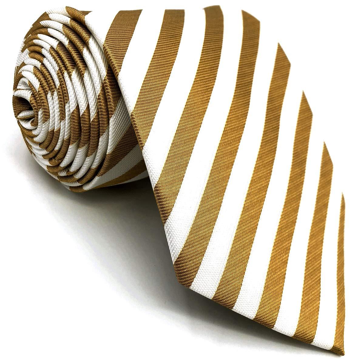 shlax&wing Rayas Beige Blanco Corbatas Para Hombre Traje de ...