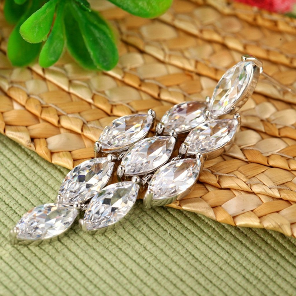 Womens Stud Earring White Cubic Zirconia Tassel Oval Dangling Epinki White Gold Plated Earrings