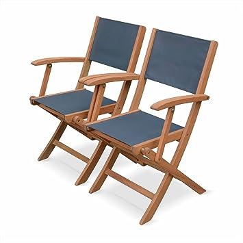 alices garden fauteuils de jardin en bois et textilne almeria gris anthracite 2 fauteuils - Fauteuil En Bois