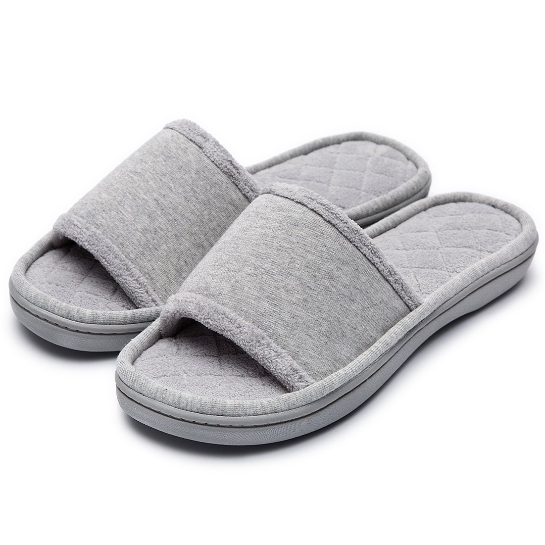 Women's Comfort Memory Foam Cotton House Slippers Spa Shoes w/Fleece Lining & Anti-Skid Rubber Sole (Medium / 7-8 B(M) US, Gray)