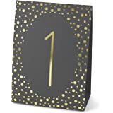 Hortense B. Hewitt Wedding Accessories Gold Polka Dot Table Tents, Numbers 1 to 40, Black/Gold