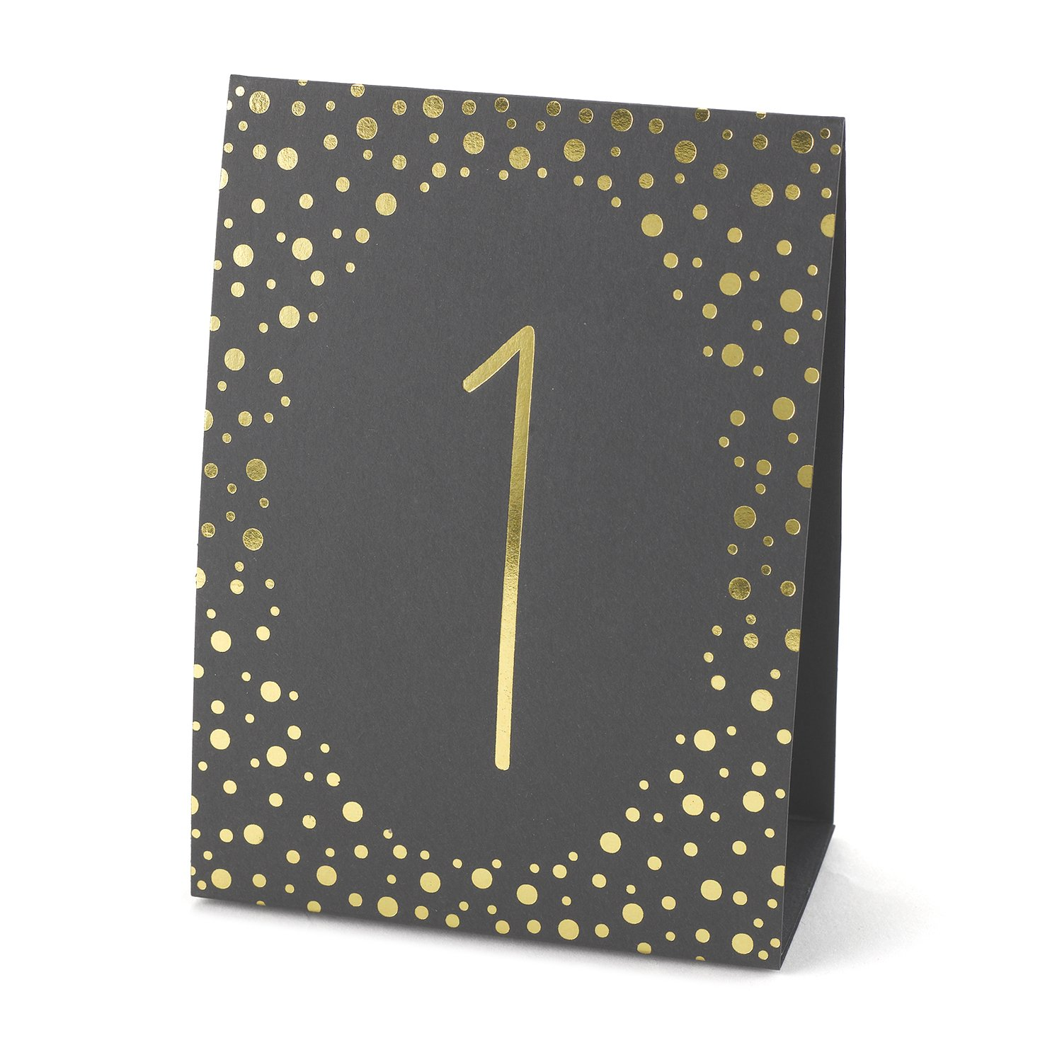Hortense B. Hewitt Wedding Accessories Gold Polka Dot Table Tents, Numbers 1 to 40, Black/Gold 35084