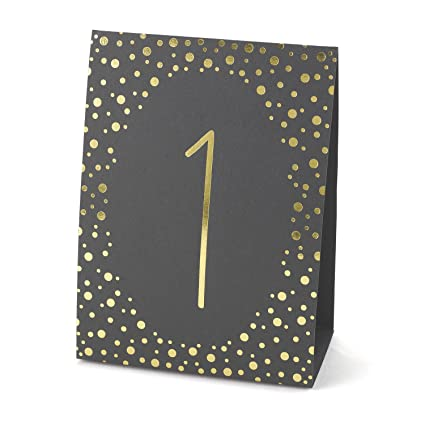 Amazoncom Hortense B Hewitt Wedding Accessories Gold Polka Dot - Wedding table tents